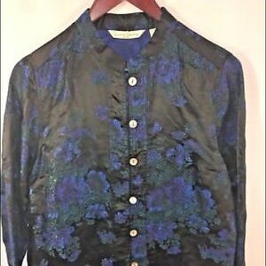 French Laundry Women Petite M Asian Floral Jacket